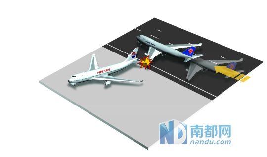 """白云机场飞机""""入库""""剐蹭翅膀"""