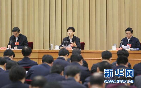 2015年1月20日,中央政法工作会议在北京召开。中共中央政治局委员、中央政法委书记孟建柱传达习近平总书记重要指示并讲话。 新华社记者 丁林 摄
