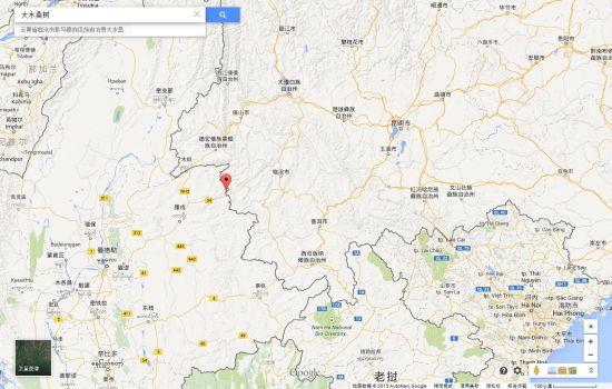 缅甸军机炸弹落入中方境内事发地点 途中红点处为大水桑树村