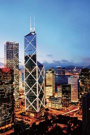 图文:香港中银大厦夜景