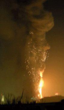 组图:中央电视台新大楼北配楼发生大火