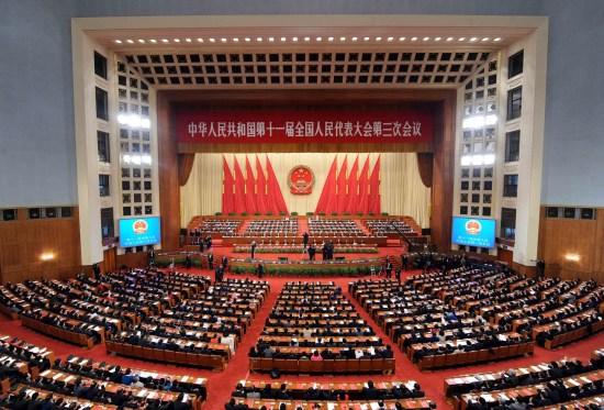 图文:十一届全国人大三次会议会场全景