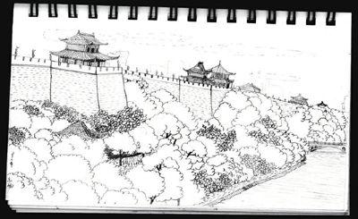 美院学生恋上西安古建筑手绘画说城墙美景(图)