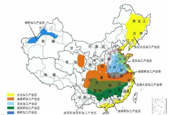 中国油料加工分布区域图。