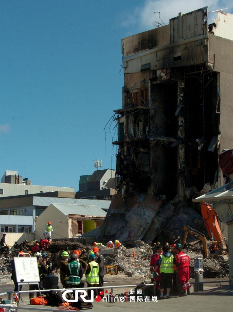中国国际救援队继续在坎特伯雷电视大楼废墟中搜寻