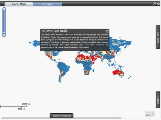 """""""水风险地图集""""中的中国黄河流域水风险交互式地图"""