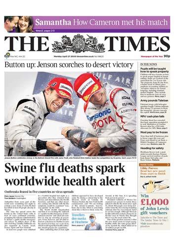 图文:英国《TheTimes》关注猪流感病毒疫情