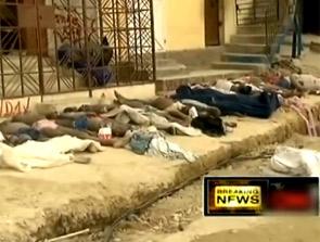 海地地震遇难者遗体被排成一列放置路边