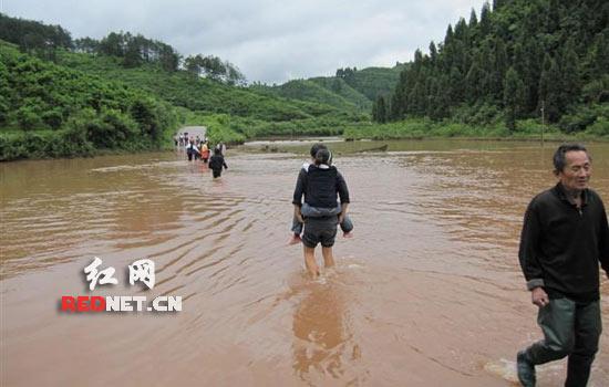 道路淹没老师泸溪县情趣乐为渡船当洪水女迅雷兔学生图片