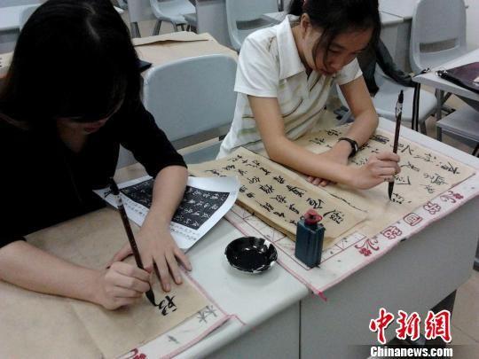 海南师范大学留学生热爱中国书法