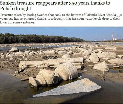 波兰一河流干涸重现350年前沉船宝藏(图)