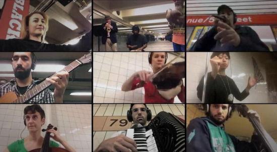 Skype软件当联络工具11名音乐家纽约地铁上演异地合奏(组图)