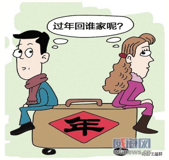 每年春节前夕,许多年轻小夫妻为究竟回谁家过年这个不是问题的问题争吵不休