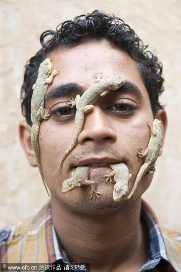 组图:男孩将多只蜥蜴放在脸上玩耍