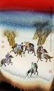 粉墨彩《唐人马球图》瓷板画