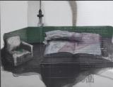 张晓刚作品赏析:《绿墙-书房1号》