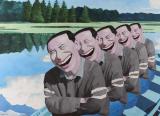 岳敏君作品欣赏 《在湖上》 1994年作