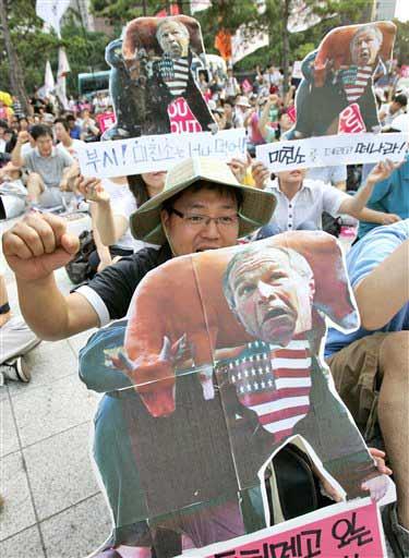数千名韩国民众集会抗议布什访韩(组图)