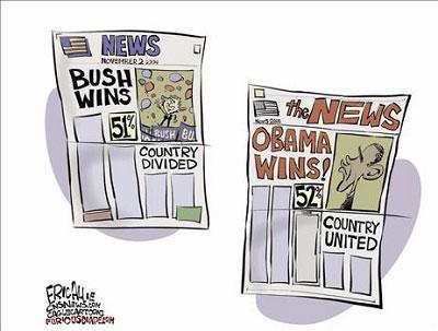 漫画:当年的布什和今年的奥巴马