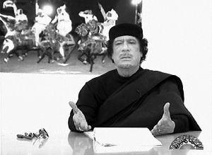 4月30日,利比亚国家电视台截图显示,卡扎菲正在发表演讲。
