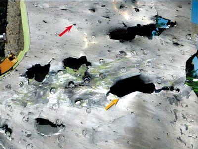 """空难调查报告中标出的残骸""""外伤""""。"""