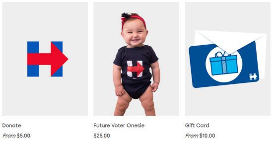 这件宝宝连体衣看上去很可爱,有网友建议希拉里给自己的外孙女留一件。   中国日报网5月27日电(信莲)当地时间5月25日,美国2016年总统竞选人希拉里推出了网店,出售服装、配饰等各种物品,商品上都印有她名字首字母H。这家网店是希拉里为自己总统竞选造势筹款的一部分。下面跟随小编看看商店里有啥有趣的商品。   (原标题:希拉里为竞选总统开网店 看看里面都卖啥?[1]- 中国日报网)