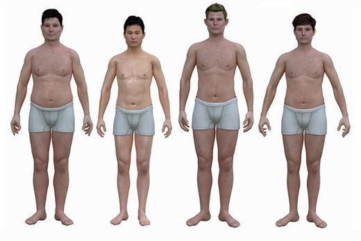 老老男人祼体艺术照片欣赏_三张图让你看透:东西方男人平均体型的差别