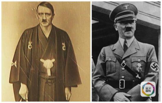 希特勒着纳粹军服与和服对比照。(图片来源:《每日快报》网站)