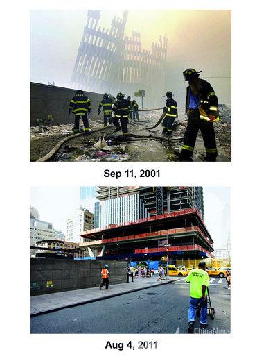 上图:2001年9月11日,遭受恐怖分子袭击后的纽约世贸中心一片狼藉。下图:2011年8月4日,正在重建中的纽约世贸中心4号塔。