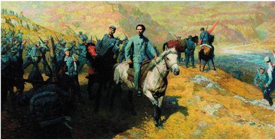 油画《转战南北――抗战中的毛泽东与周恩来》(局部) 作者:汤沐黎