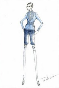 """An illustration of an outfit made by Japanese fashion design Tae Ashida for astronaut Naoko Yamazaki, who is on a mission to the the International Space Station (ISS). Ashida put together a light blue cardigan with dark blue shorts in an outfit with """"a sense of grace"""" for a mission in a male-dominated atmosphere. (Agencies)"""