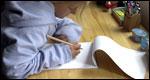 A pupil doing homework
