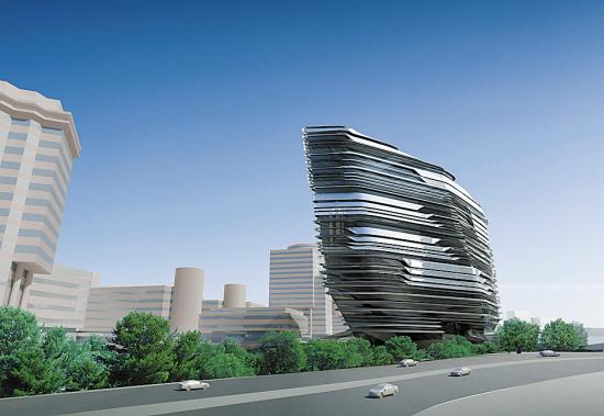 """由国际知名女建筑师扎哈・哈迪德(Zaha Hadid)设计的""""赛马会创新楼""""效果图"""