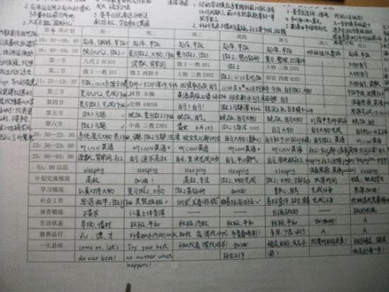 马冬晗的《一周时间安排表》