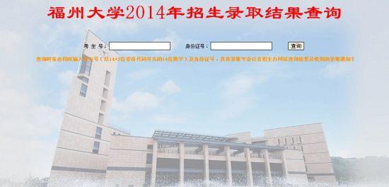 2014年福州大学高考录取结果查询