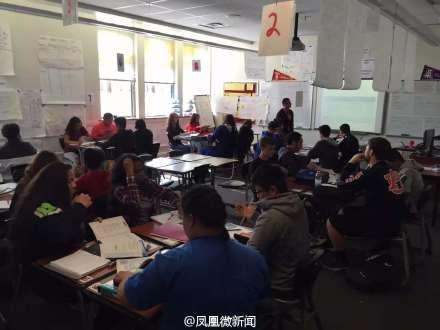 林肯中学的课堂(图片来源于微博)