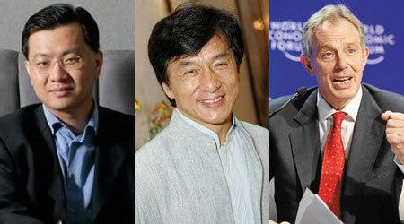 卫哲(左)、成龙(中)、布莱尔(右)都是罗斯福会所的会员(配图:中国企业家网)