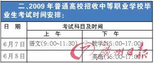 09年广东高考时间表出炉仍然考三日(图)