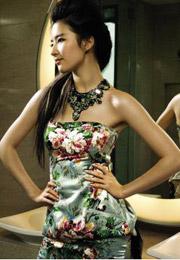刘亦菲花鸟图案旗袍