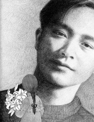 上海的荣迷手绘的张国荣画像.早报记者 沈祎 图