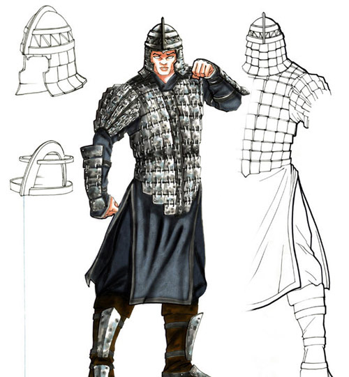 只是身披中国古代盔甲,为李连杰扮演的将军服务.