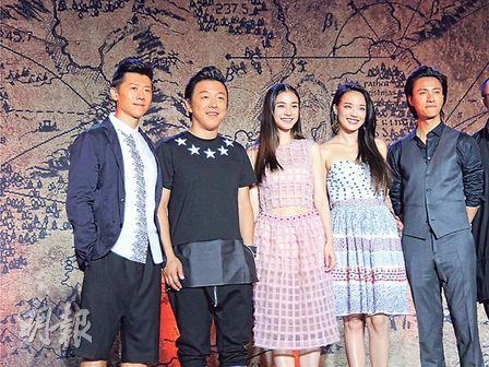 夏雨(左起)、黄渤、Baby、舒淇及陈坤于新片合作。