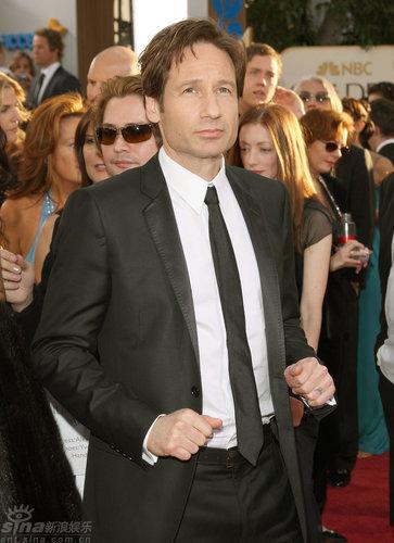 图文:金球奖红毯--大卫-杜楚尼戴窄领带有型
