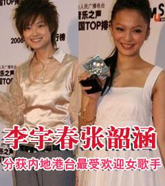 李宇春张韶涵人气胜出 夺TOP榜最受欢迎女歌手