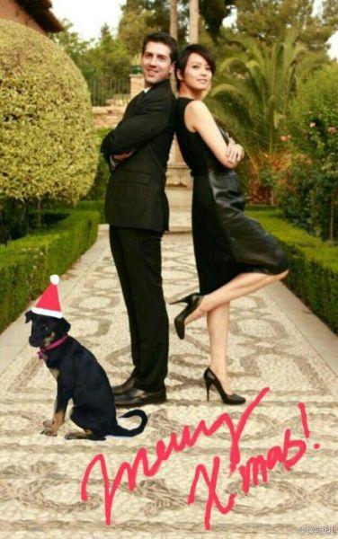 梁咏琪与外国老公庆圣诞