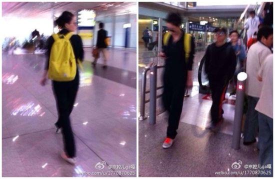 网友27日早上在北京机场巧遇王菲,低头滑手机的模样被拍下,引发外界联想她正与谢霆锋热线。(图/翻摄自微博
