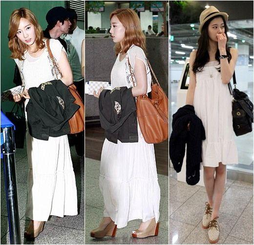 泰妍白色长裙浪漫搭配