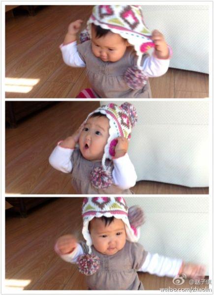 赵子琪爱女戴上帽子抓狂
