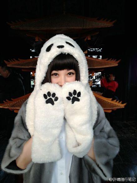 许晴扮熊猫卖萌