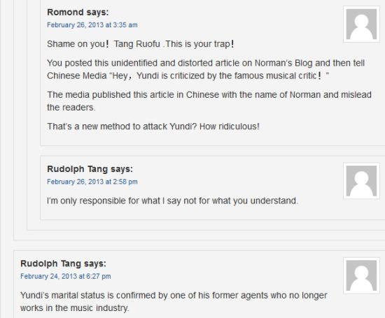鲁道夫-唐称自己从李云迪的一个前经纪人口中,确认了李云迪的婚姻状况